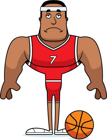 A cartoon basketball player looking sad. Ilustração