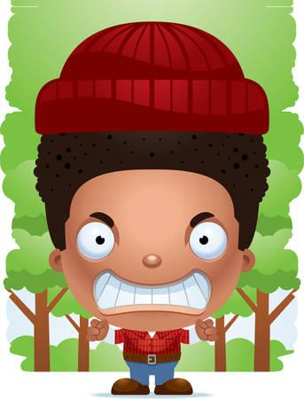 A cartoon illustration of a boy lumberjack looking angry. Standard-Bild - 101920141