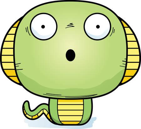 A cartoon illustration of a cobra looking surprised. Illustration