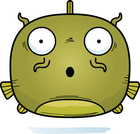 A cartoon illustration of a catfish looking surprised.