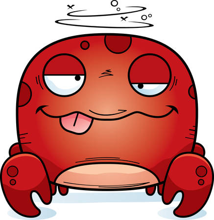 A cartoon illustration of a crab looking drunk.