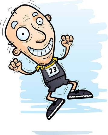 A cartoon illustration of a senior citizen man track and field athlete jumping.