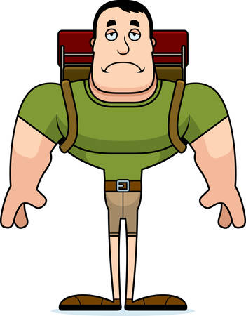 A cartoon hiker looking sad.