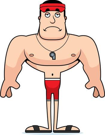 A cartoon lifeguard looking sad. Illustration