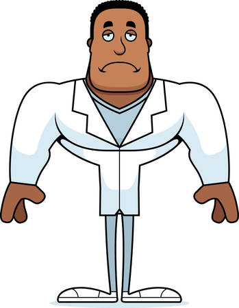 A cartoon doctor looking sad. Çizim