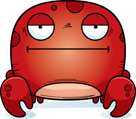 A cartoon illustration of a crab looking bored. Illustration