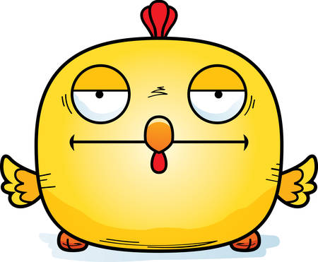 A cartoon illustration of a chicken looking bored.