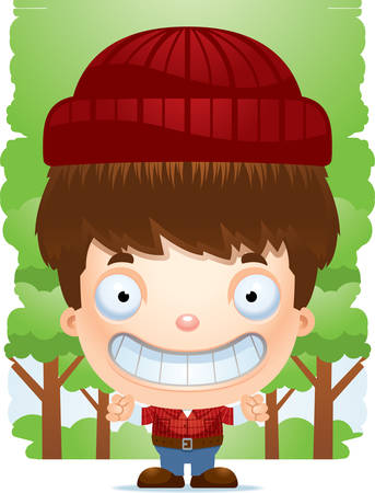 A cartoon illustration of a boy lumberjack smiling. Illustration