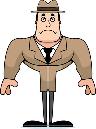 A cartoon detective looking sad.