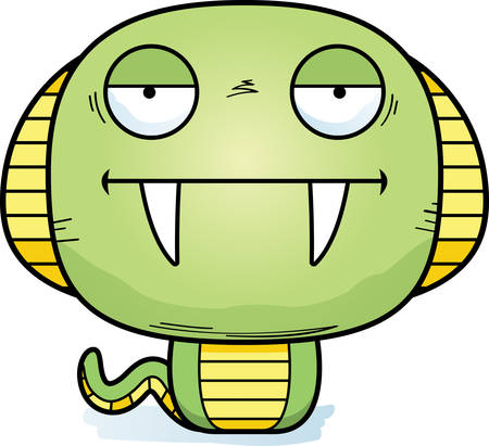 A cartoon illustration of a cobra looking bored.  イラスト・ベクター素材