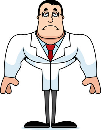 A cartoon scientist looking sad.