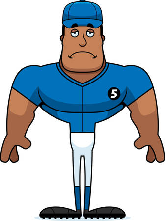 A cartoon baseball player looking sad.