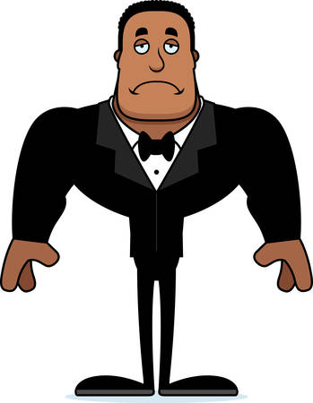 A cartoon groom looking sad.