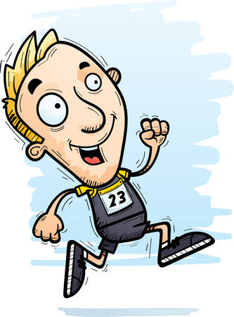 A cartoon illustration of a man track and field athlete running.