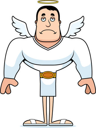 A cartoon angel looking sad.