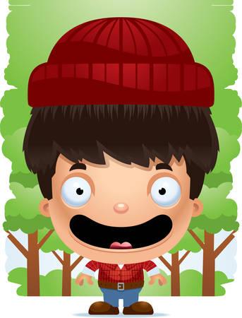 A cartoon illustration of a boy lumberjack smiling. Illustration