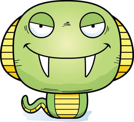 A cartoon illustration of an evil looking cobra.