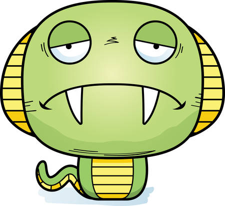 A cartoon illustration of a cobra looking sad. Stock Vector - 101954409