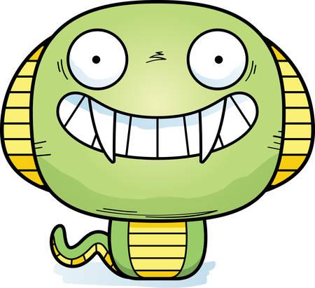 A cartoon illustration of a cobra looking happy.