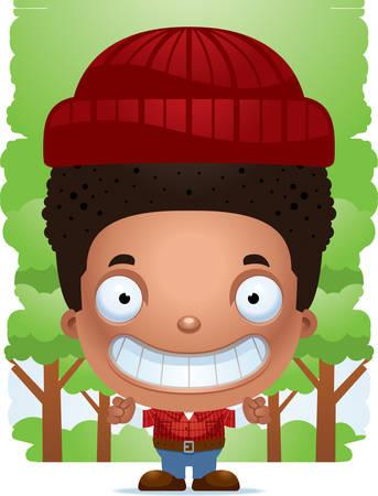 A cartoon illustration of a boy lumberjack smiling. Standard-Bild - 101954415