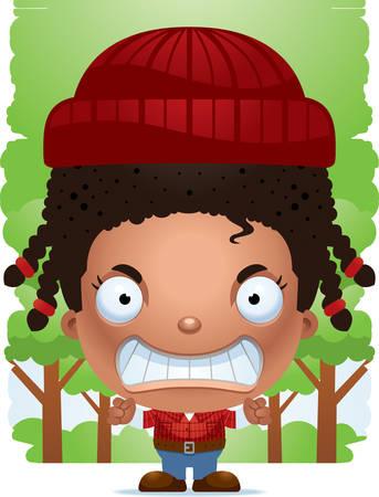 A cartoon illustration of a girl lumberjack looking angry. Standard-Bild - 101919960