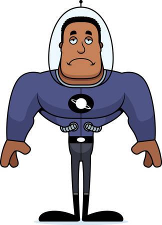 A cartoon spaceman looking sad.