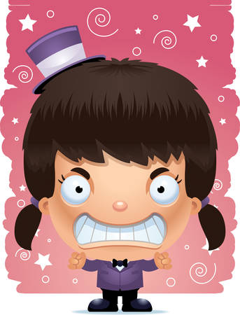 A cartoon illustration of a girl magician looking angry.