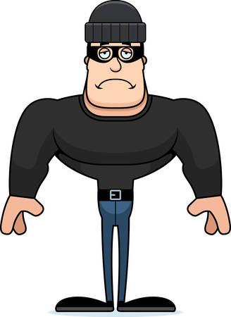 A cartoon thief looking sad.