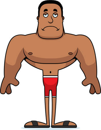 A cartoon man looking sad in a swimsuit.