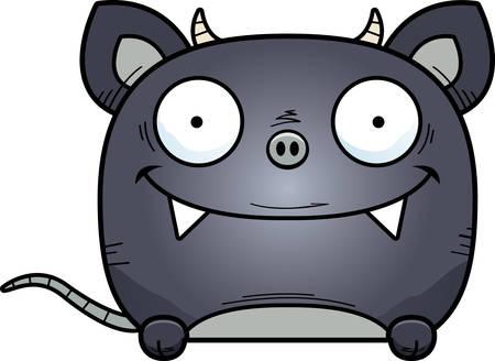 A cartoon illustration of a little chupacabra peeking over an object. Archivio Fotografico - 101954475