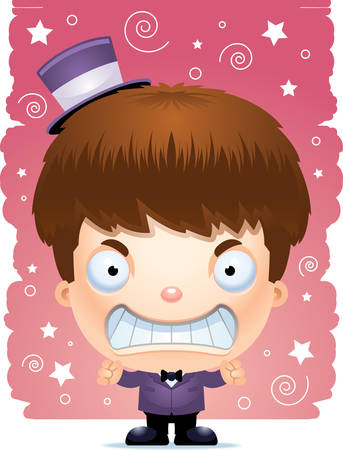 A cartoon illustration of a boy magician looking angry.