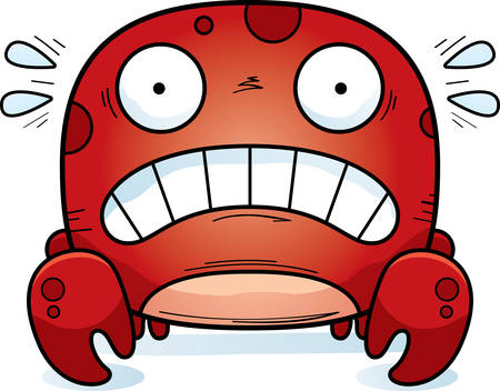A cartoon illustration of a crab looking scared.