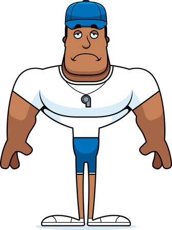 A cartoon coach looking sad. Illustration