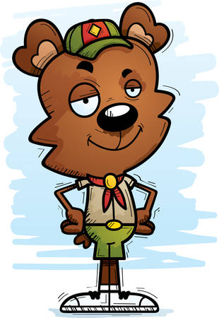 A cartoon illustration of a male bear scout looking confident.