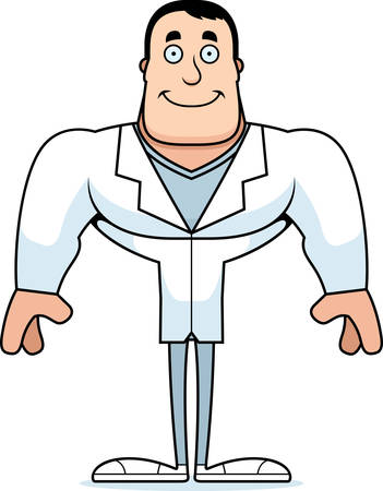 A cartoon doctor smiling. Çizim