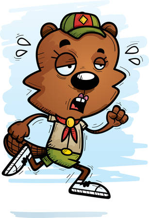 A cartoon illustration of a female beaver scout running and looking exhausted. Banque d'images - 101954563