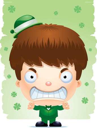 A cartoon illustration of a boy leprechaun looking angry. Illustration