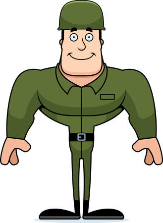 A cartoon soldier smiling.