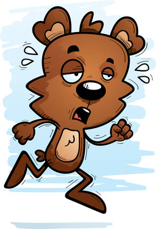 A cartoon illustration of a male bear running and looking exhausted.