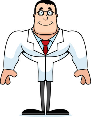 A cartoon scientist smiling.