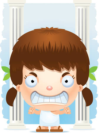 A cartoon illustration of a Greek girl looking angry.