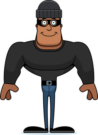 A cartoon thief smiling.