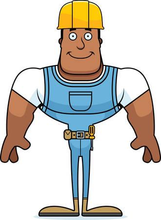 A cartoon construction worker smiling.