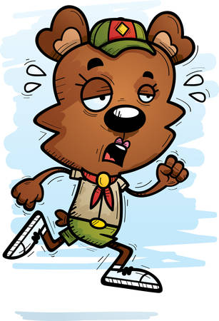 A cartoon illustration of a female bear scout running and looking exhausted. Ilustrace