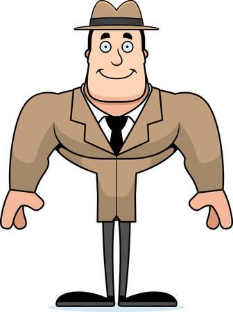 A cartoon detective smiling.