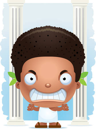 A cartoon illustration of a Greek boy looking angry.