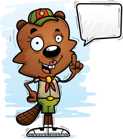 A cartoon illustration of a female beaver scout talking.