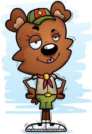 A cartoon illustration of a female bear scout looking confident.
