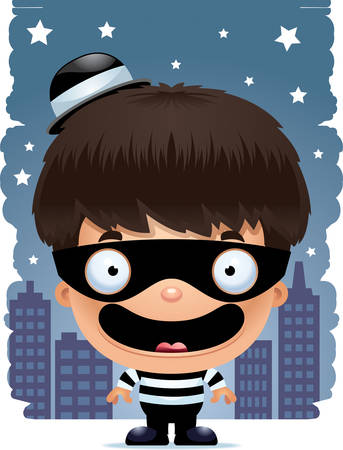 A cartoon illustration of a boy burglar smiling.