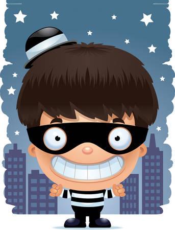 A cartoon illustration of a boy burglar smiling.